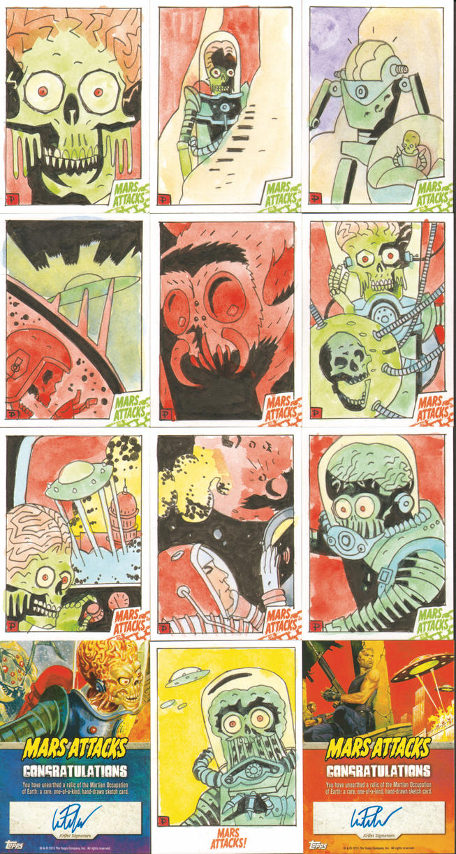 MARS ATTACKS SKETCHCARDS 41-50 by future-parker