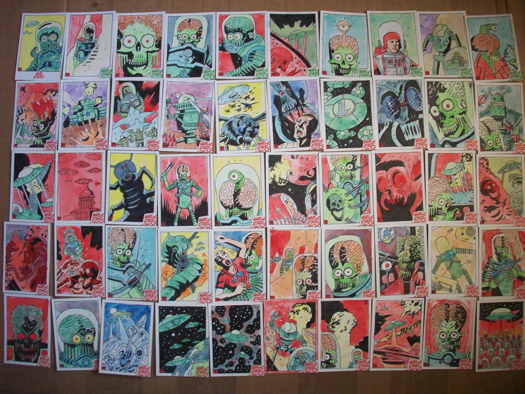 MARS ATTACKS SKETCHCARDS by future-parker