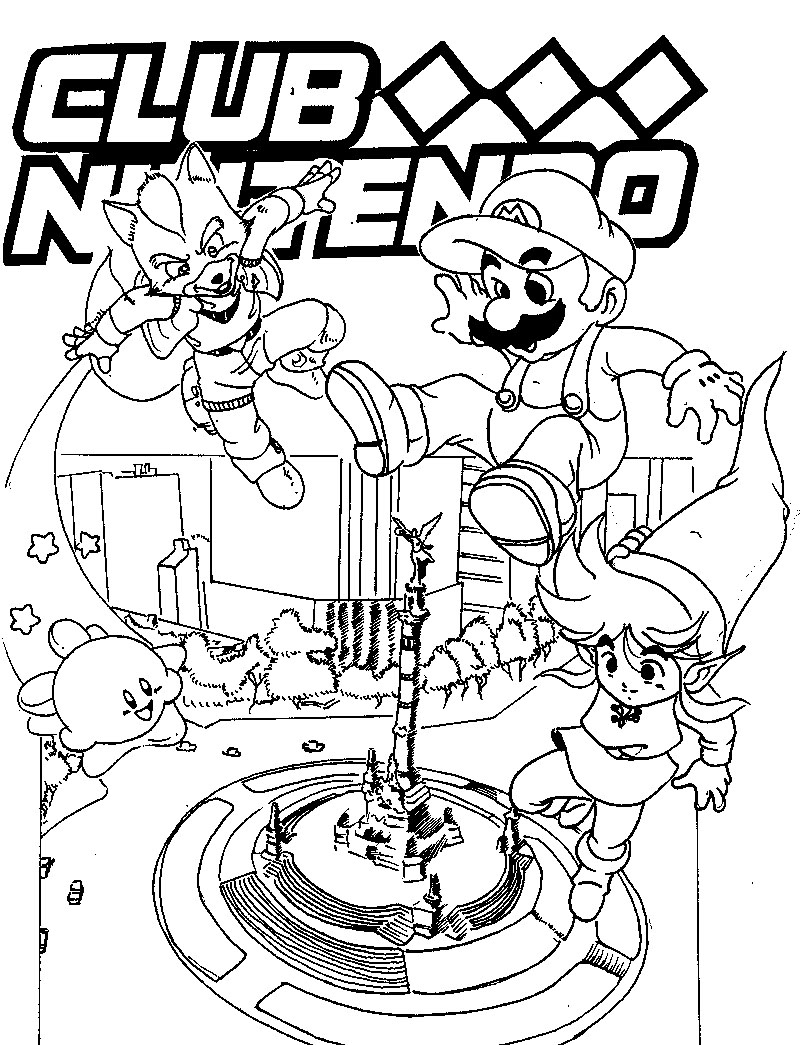 Snes free colouring pages for Nintendo coloring pages