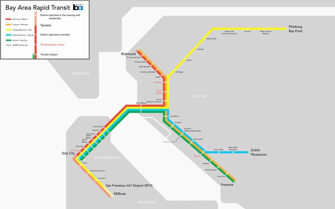 Map Of The Bay Area Rapid Transit By Omegshi147 On Deviantart With average weekday ridership around 405,000 passengers in february 2020, bart is the fifth busiest rapid transit system in the united states. deviantart