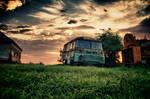 Old rusty van at Ozora