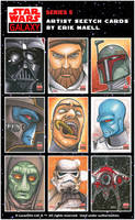 Star Wars Galaxy V SketchCards by Erik-Maell
