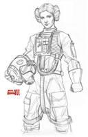 Princess Leia - Pilot's Uniform Sketch by Erik-Maell