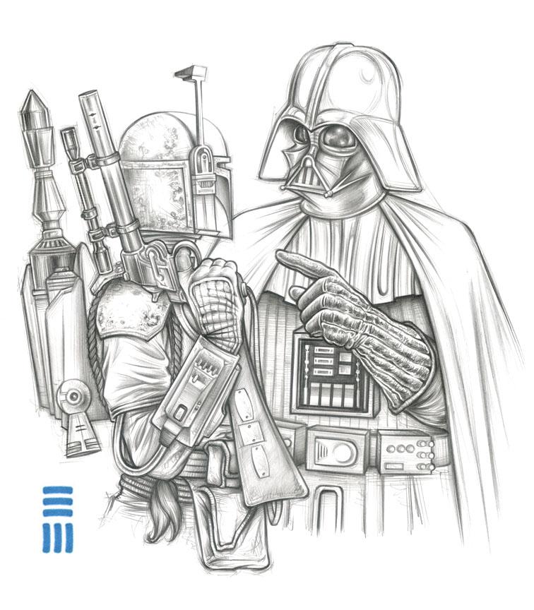 Darth Vader  Boba Fett Preliminary Sketch by ErikMaell on DeviantArt