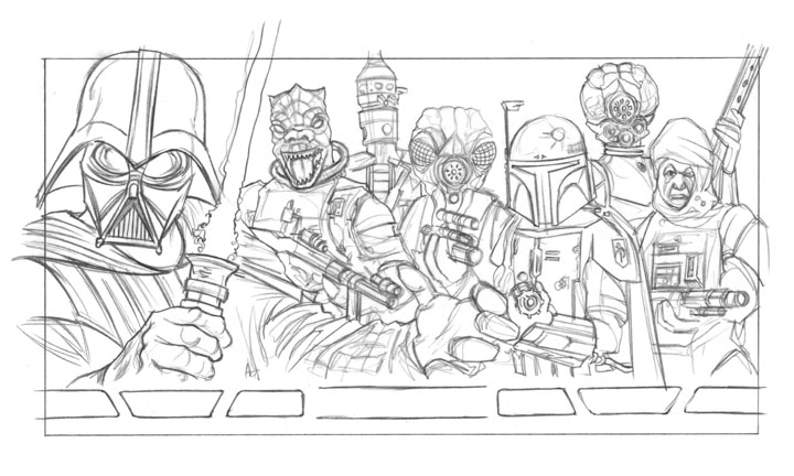 Vader and Bounty Hunters - Preliminary Sketch by Erik-Maell