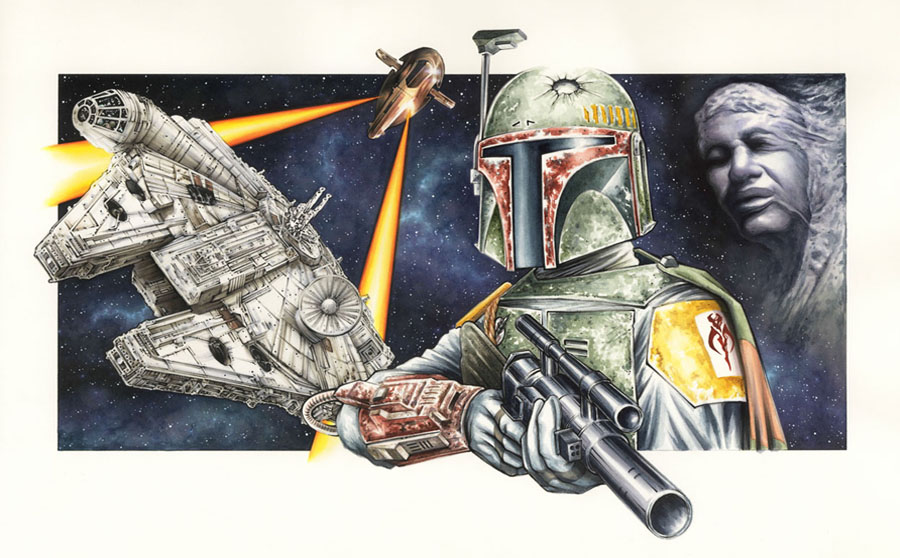 Boba Fett Commissioned Painting by Erik-Maell