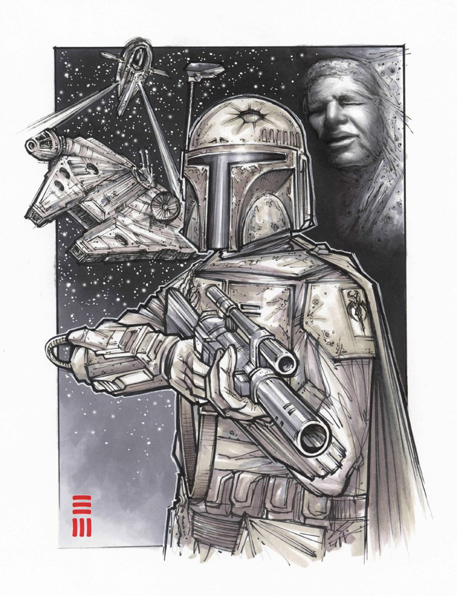 Preliminary Sketch for Boba Fett Painting by Erik-Maell