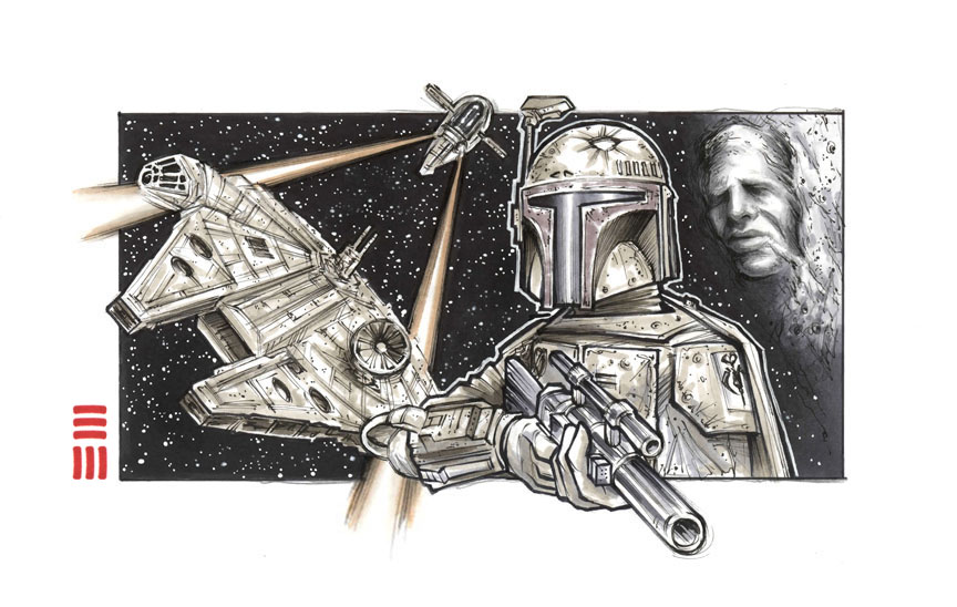 Preliminary Sketch for Boba Fett Painting, Revised by Erik-Maell