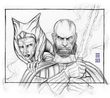 Anakin and Ahsoka - Concept Sketch by Erik-Maell