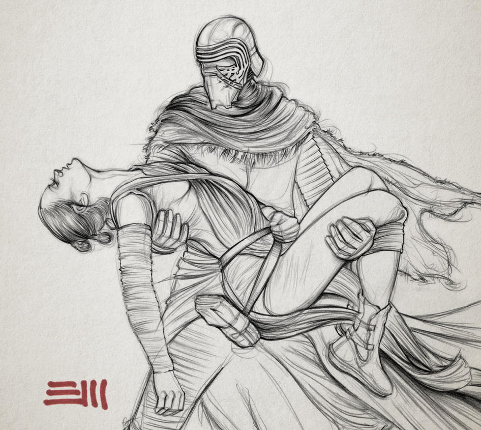 Rey's Abduction - Preparatory Sketch by Erik-Maell