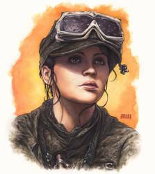 Jyn Erso Watercolor Portrait by Erik-Maell