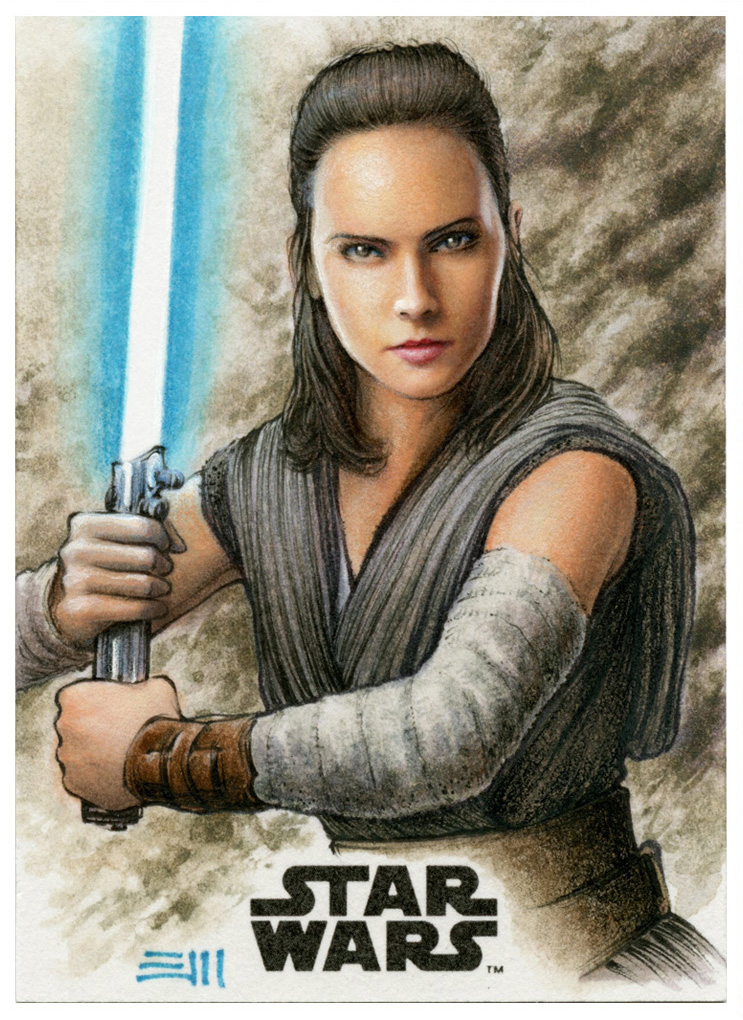 Rey Artist Proof - LAST JEDI Trading Card Series by Erik-Maell