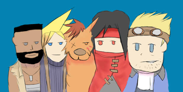 FF7 - Barrett, Cloud, Red XIII, Vincent, Cid by Megalollo1