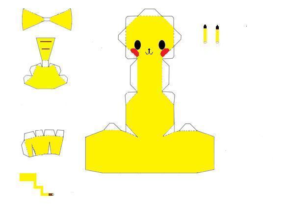 Chibi pikachu papercraft by scaly-green