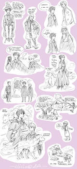 sherlock+hp crossover doodles by Clicio