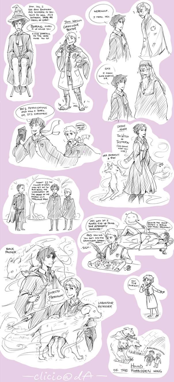 sherlock+hp crossover doodles