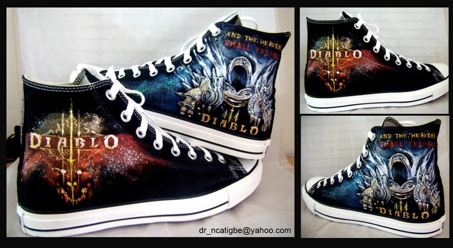 Diablo3 hand painted Converse by alcat2021 by alcat2021