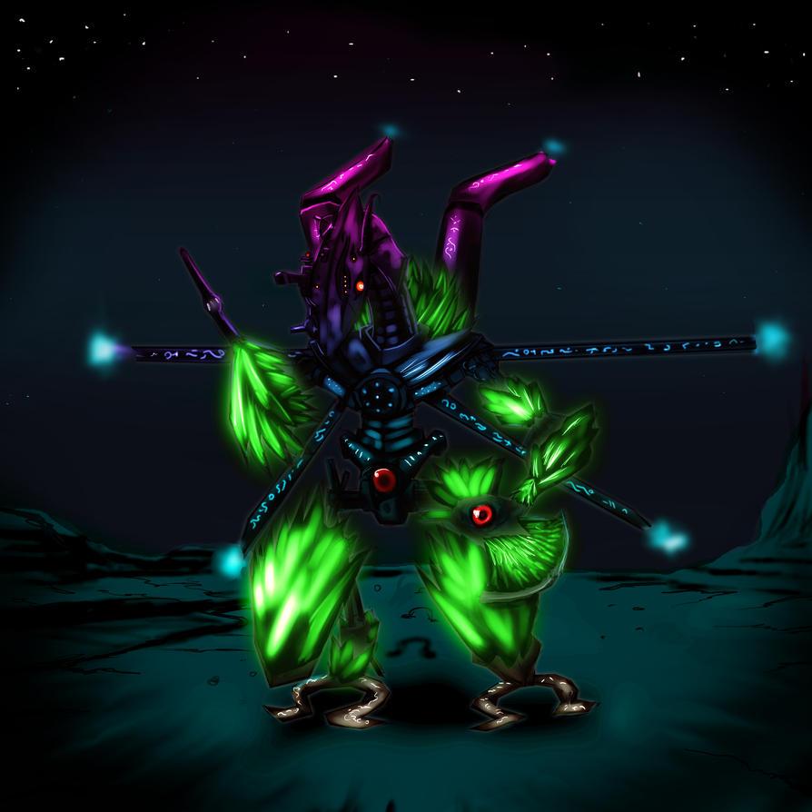 Deep space alien guard droid by Phantom-Shadow16