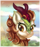 Autumn Blaze walking in the mountains
