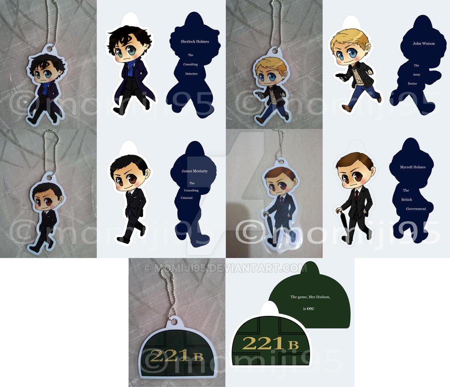 Sherlock keychains by Momiji95