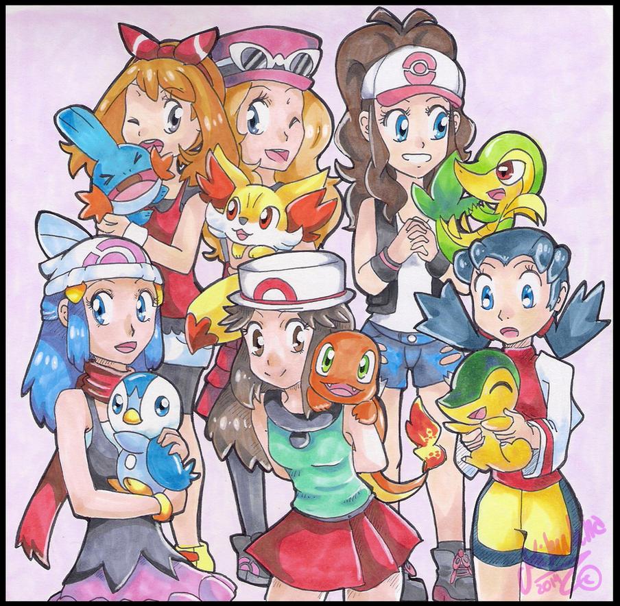 Pokemon trainer girls by Kikulina