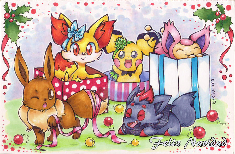 Pokemon Christmas Card v1 by Kikulina on DeviantArt
