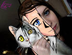 Blackcherry20 and her cat as anime by tetokasane-04