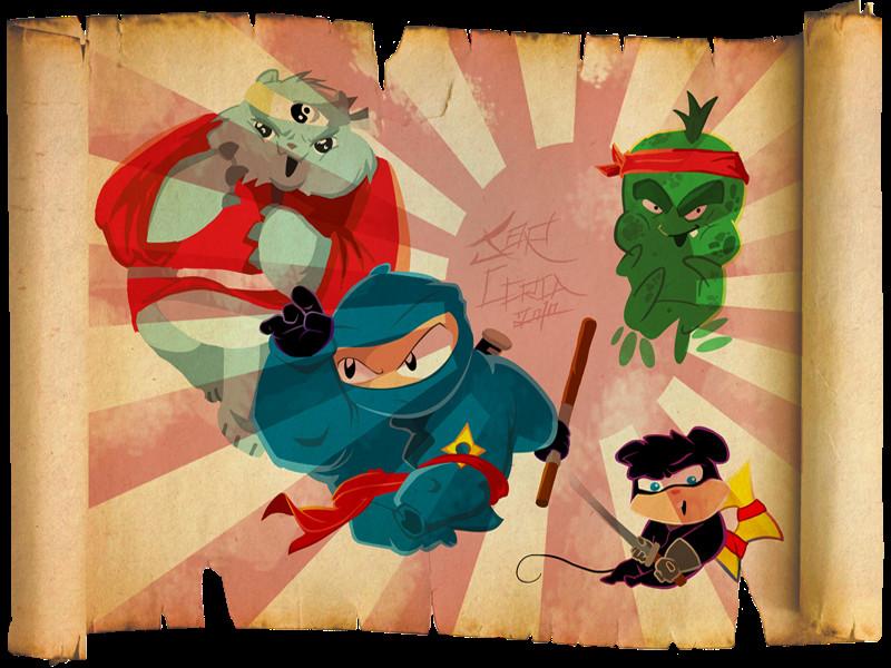 ninjinha and shuriken and team by jorcerca