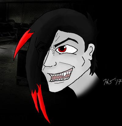 Grinning anime demon
