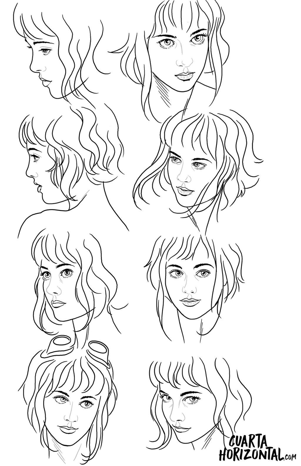 Line Drawing Female Face : Female face reference sheet by montoya on deviantart