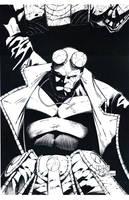 inked hellboy by drklegion