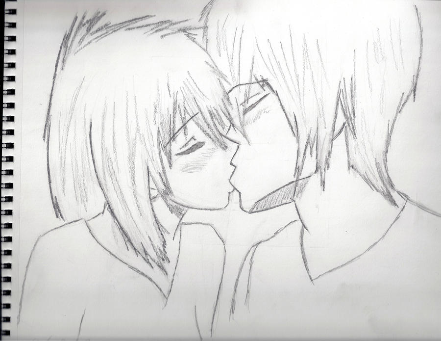 Anime Characters Kissing Drawing : Anime kiss sketch by linkthepsyduck on deviantart