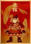 Red Samurai Cat by xiaobaosg