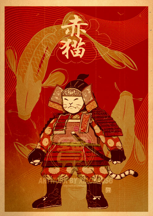 Red Samurai Cat by xiaobaosg