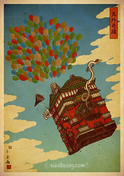 Up in the Spirited Sky (Ukiyoe print) by xiaobaosg