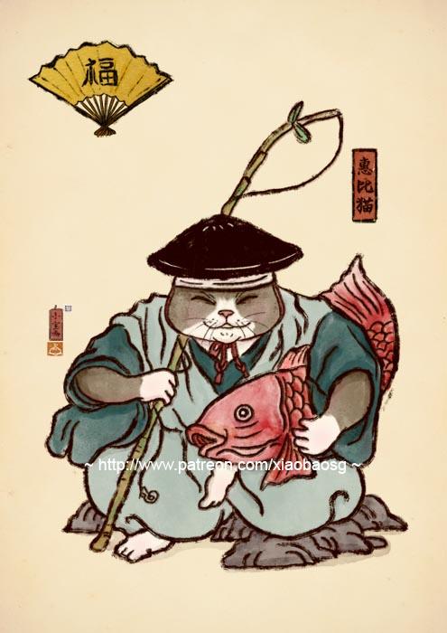 Ebisu cat by xiaobaosg
