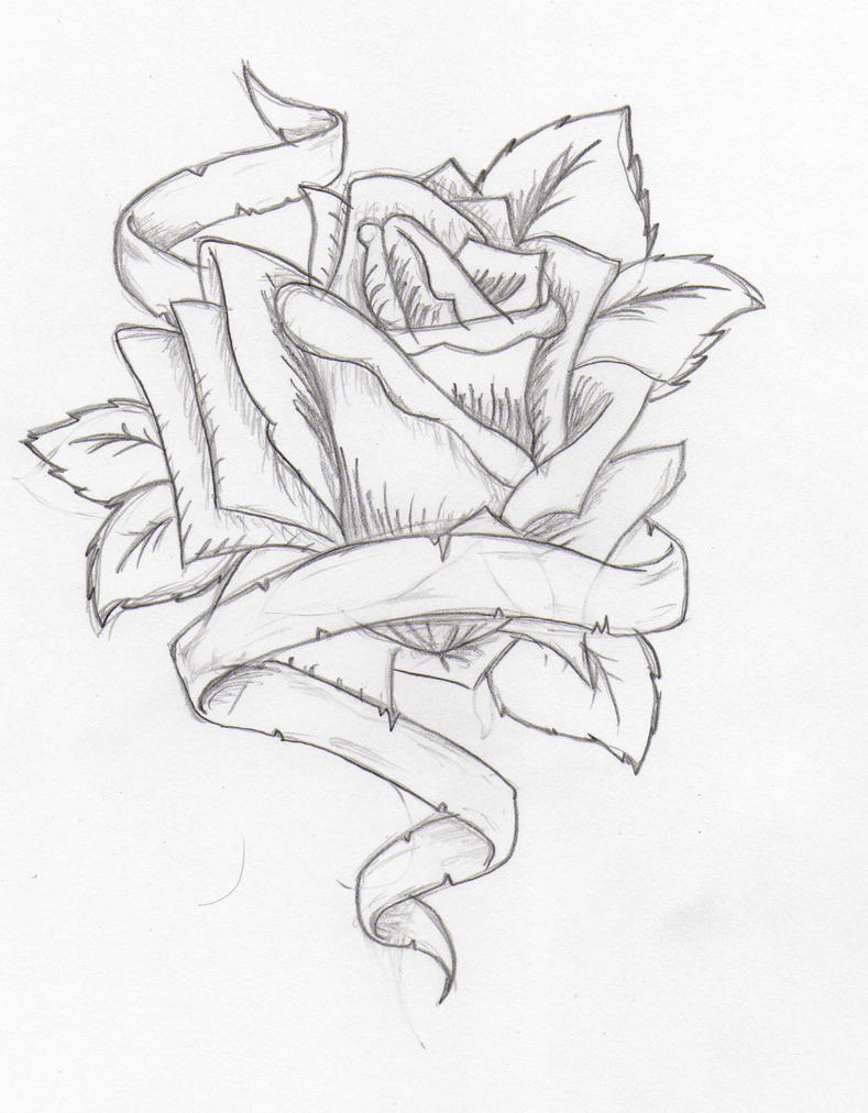 Tattoodesign Rose and Ribbon