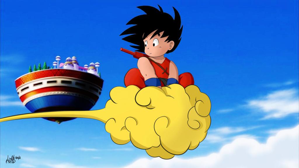 kid goku on flying - photo #23