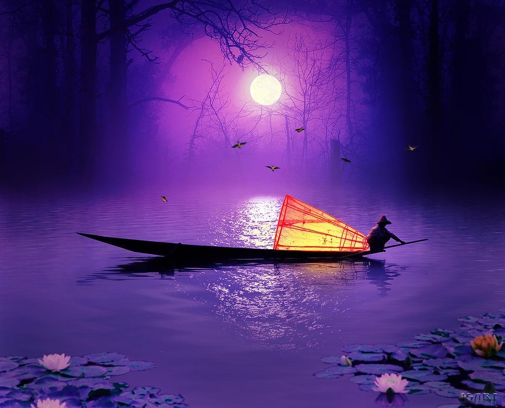 Fishing at midnight by jspanda