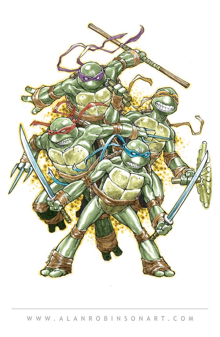 Teenage Mutant Ninja Turtles pinup by alanrobinson