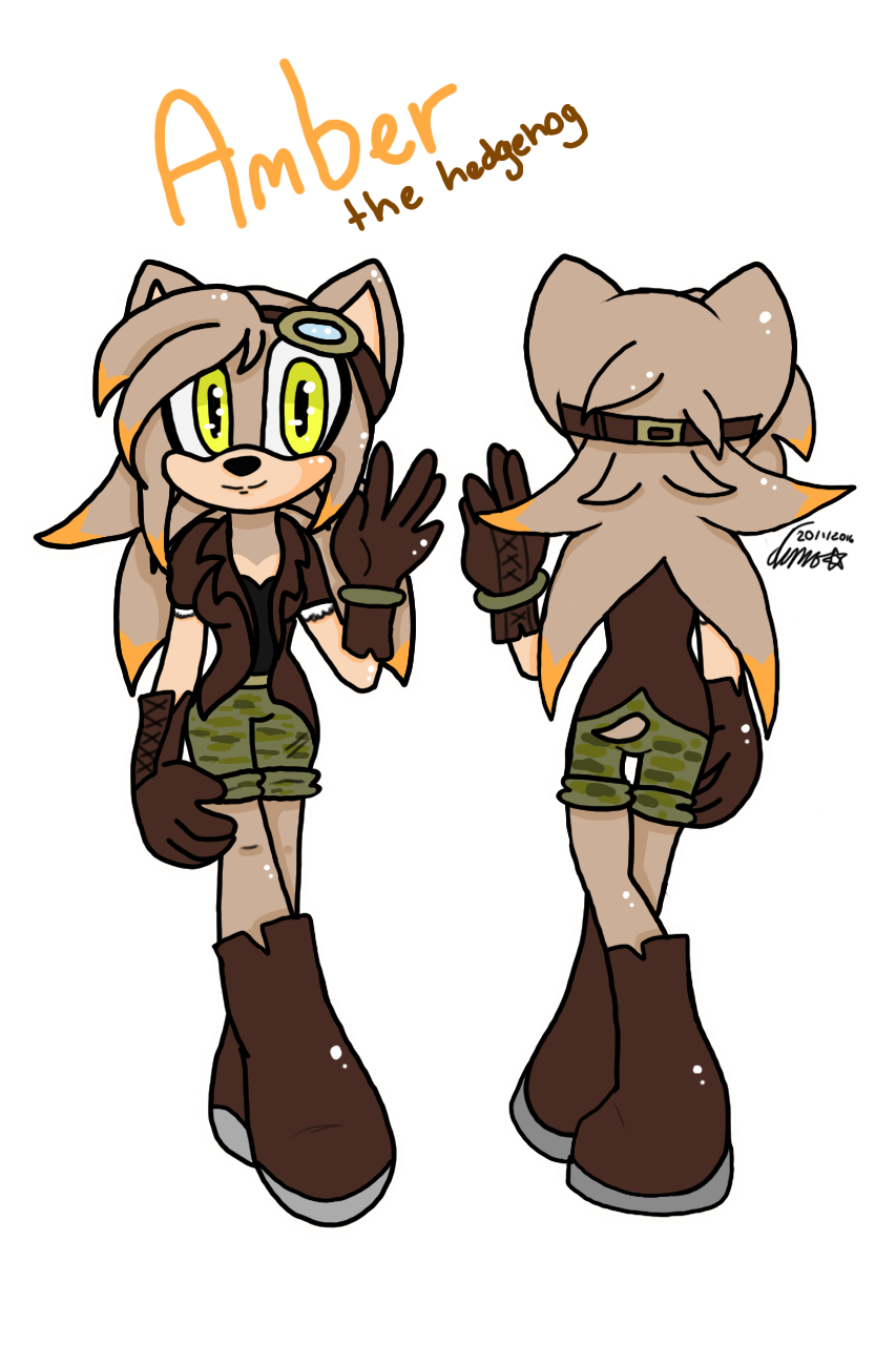 Amber the hedgehog ref by city-galaxies