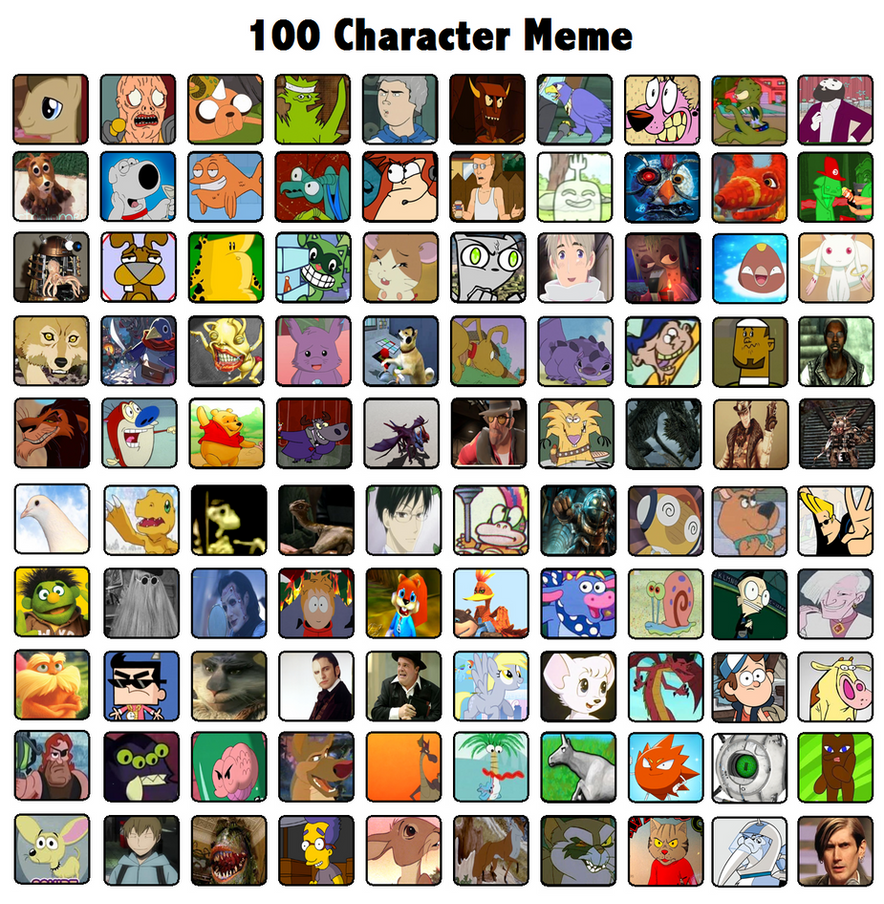 Cartoon Characters 3 100 Pics : Character meme by radical hat on deviantart