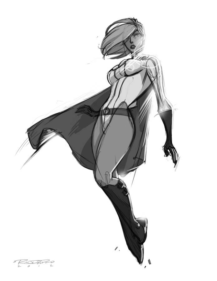 Sketch::Power Girl by KharyRandolph