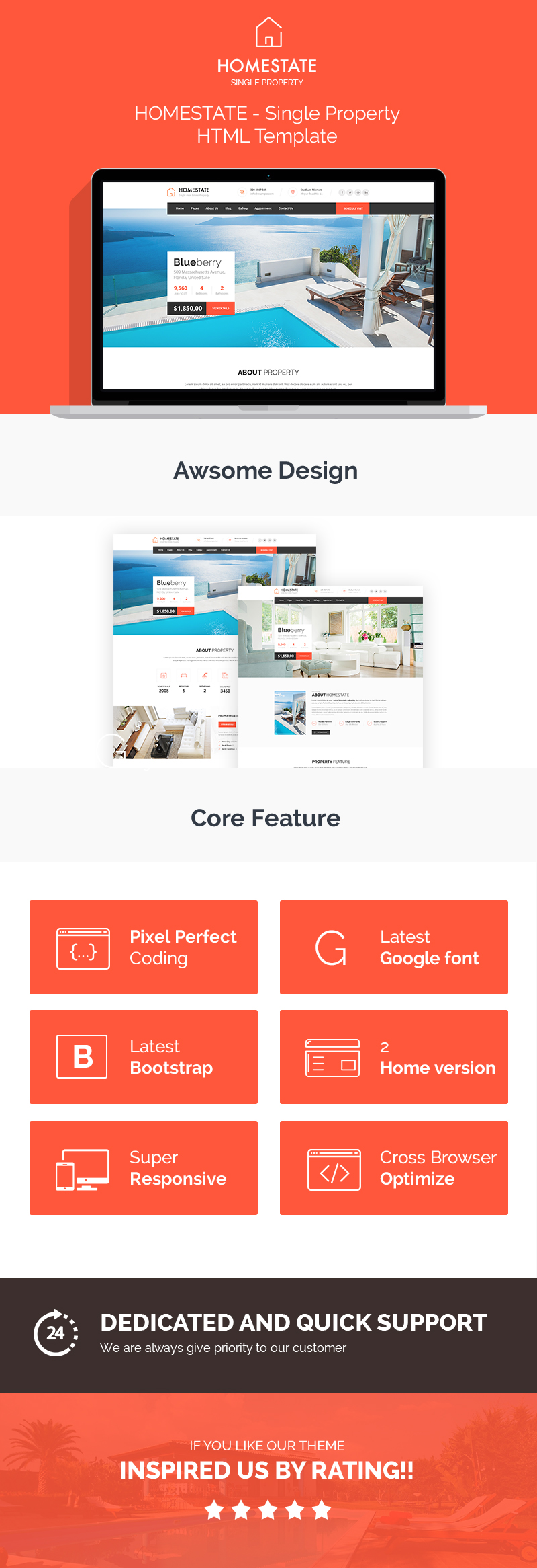 HOME STATE - Single Property Real Estate HTML Template - 2