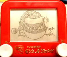 Voltorb Christmas etchasketch by pikajane