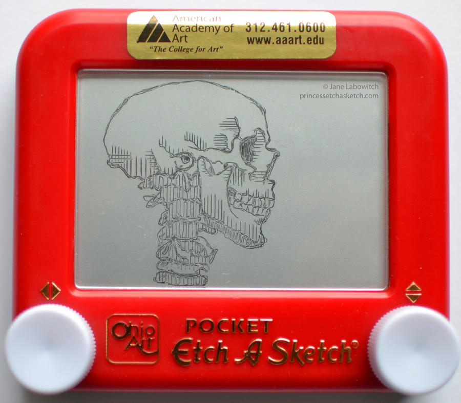 Skull etch a sketch by pikajane
