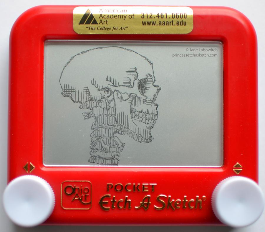 Skull etch a sketch by pikajane