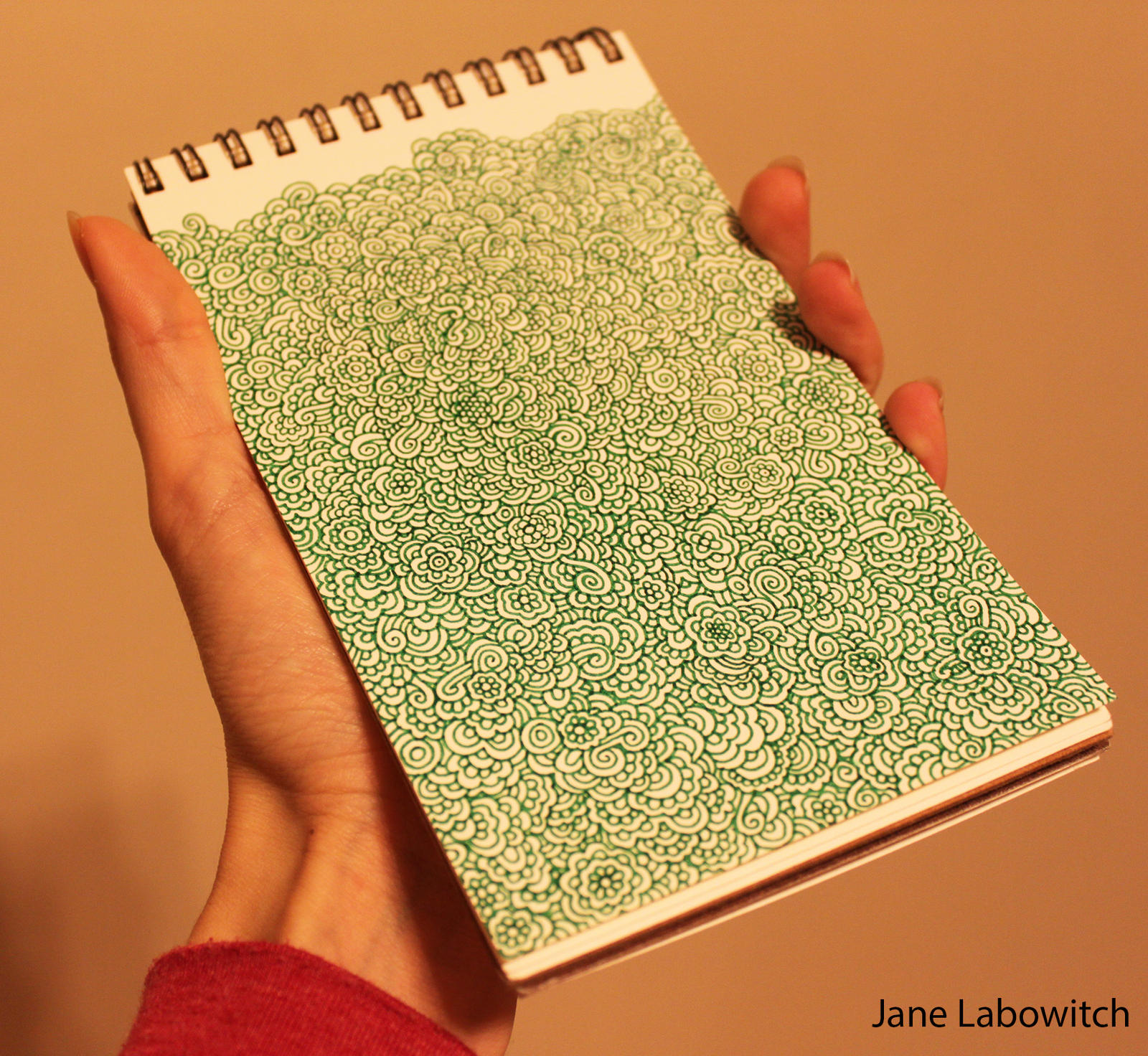 Green flowery doodle by pikajane