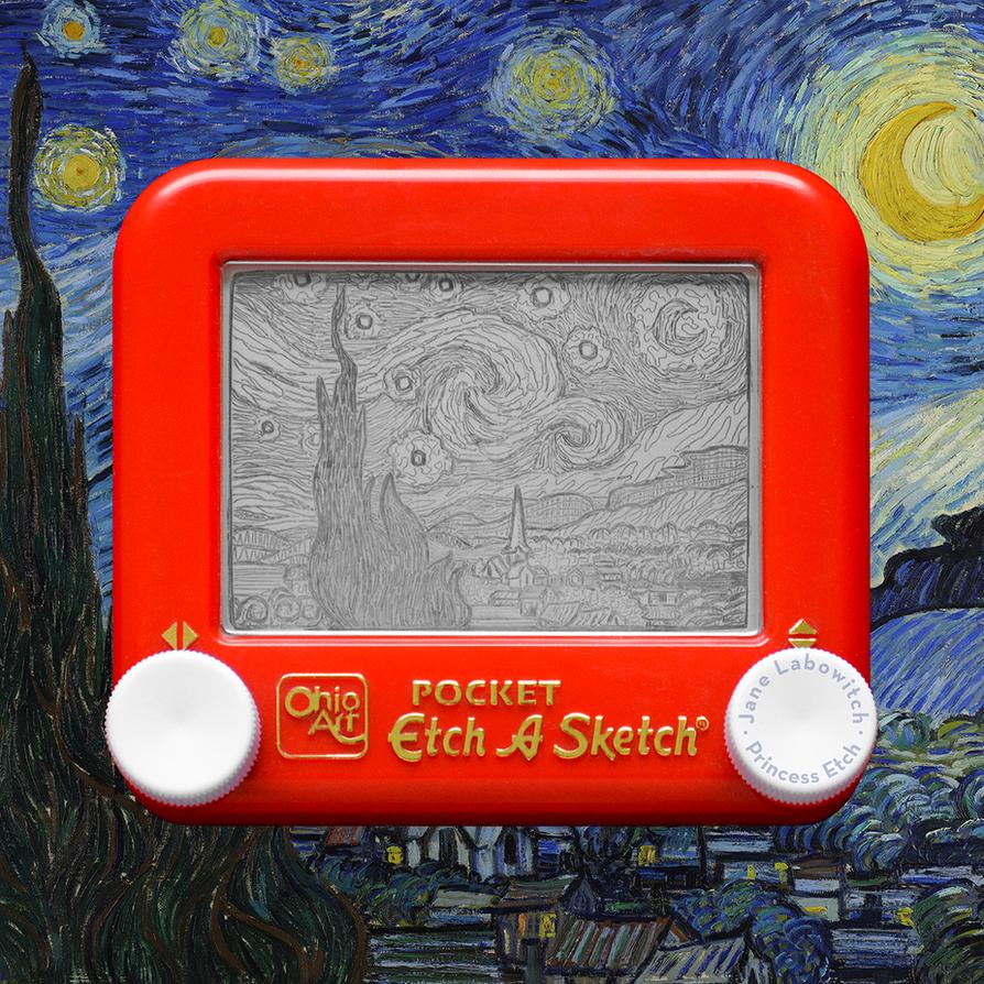 Starry Night Etch A Sketch by pikajane