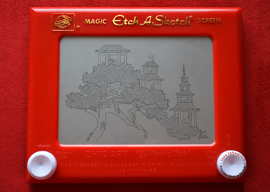 Pagoda Bonsai Treehouse Etch A Sketch by pikajane